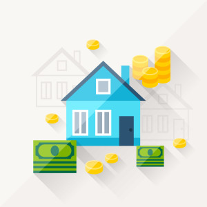 Illustration concept of mortgage in flat design style.